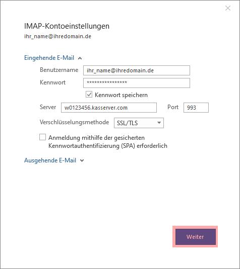 Outlook - 2019 - SMTP-Authentifizierung aktivieren, Bild 3