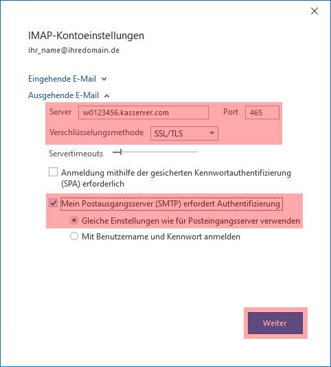 Outlook - 2019 - SMTP-Authentifizierung aktivieren, Bild 4