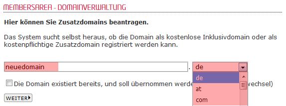 so funktioniert das Bestellen einer Domain - Bestellen der Domain in der MembersArea (Neuregistrierung), Bild 4