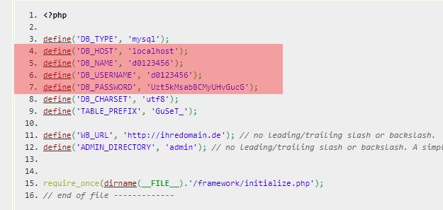 Konfigurationsdateien - Prüfung der Datenbankzugangsdaten, Bild 9