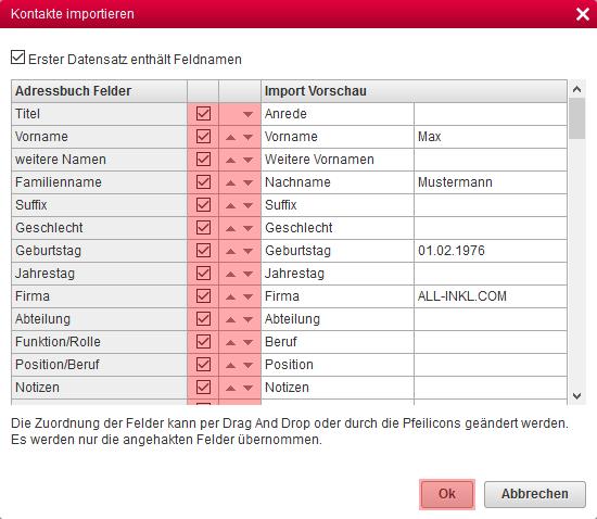 ALL-INKL.COM WebMail - Importieren von Kontakten aus CSV-Datei, Bild 7
