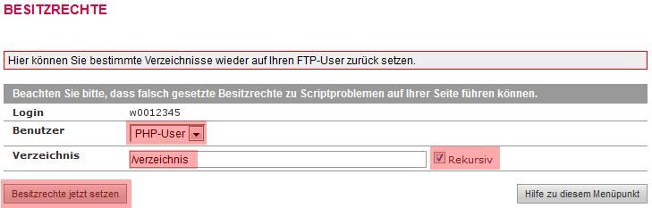 administrative Werkzeuge - Besitzrechte ändern (CHOWN) auf: PHP-User (www-data), Bild 5