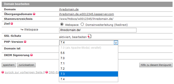 administrative Werkzeuge - Besitzrechte ändern (CHOWN) auf: PHP-User (www-data), Bild 1