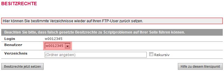 administrative Werkzeuge - Besitzrechte ändern (CHOWN) auf: FTP-Nutzer, Bild 3