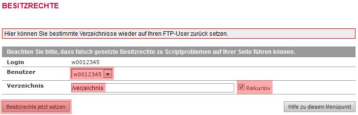 administrative Werkzeuge - Besitzrechte ändern (CHOWN) auf: FTP-Nutzer, Bild 4