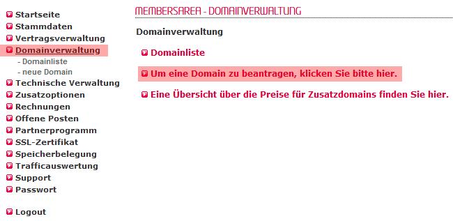 so funktioniert ein interner Wechsel - Bestellung der Domain, Bild 2