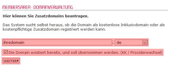 so funktioniert ein interner Wechsel - Bestellung der Domain, Bild 3