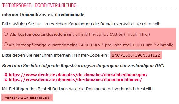 so funktioniert ein interner Wechsel - Bestellung der Domain, Bild 5