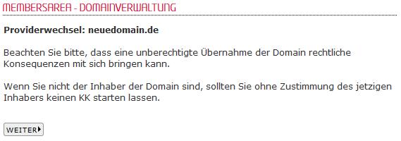so funktioniert das Bestellen einer Domain - Bestellen der Domain in der MembersArea (Providerwechsel), Bild 5