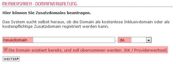 so funktioniert das Bestellen einer Domain - Bestellen der Domain in der MembersArea (Providerwechsel), Bild 4