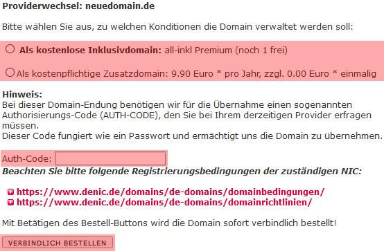 so funktioniert das Bestellen einer Domain - Bestellen der Domain in der MembersArea (Providerwechsel), Bild 6