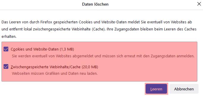 Mozilla Firefox - Cache und Cookies leeren, Bild 4