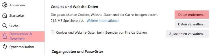 Mozilla Firefox - Cache und Cookies leeren, Bild 3
