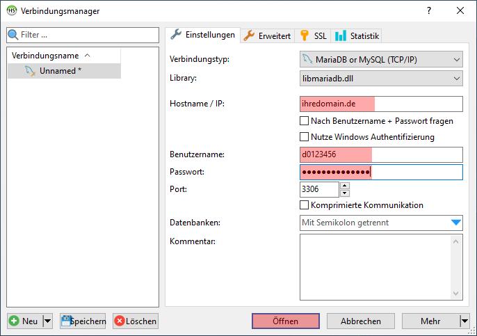 HeidiSQL - Verbindung zur Datenbank, Bild 3