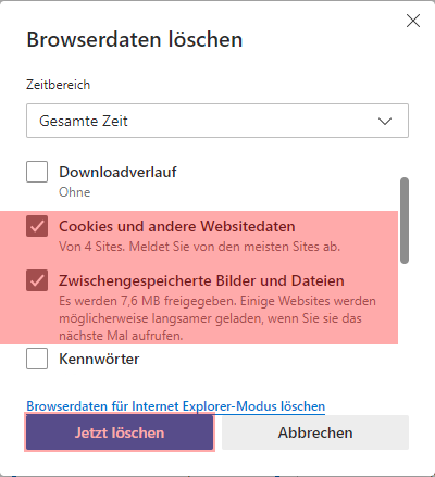 Microsoft Edge - Cache und Cookies leeren, Bild 3