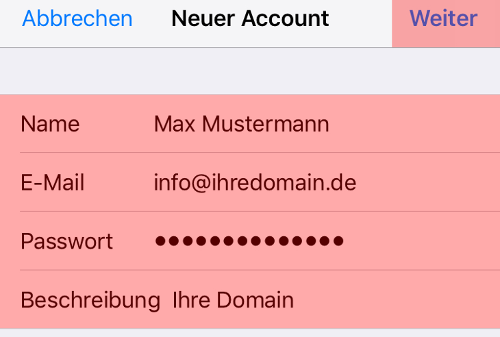 iOS Mail - E-Mail-Konto einrichten, Bild 6