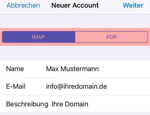iOS Mail - E-Mail-Konto einrichten, Bild 7