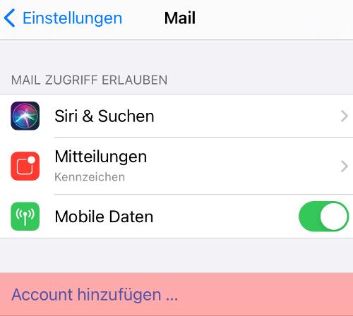 iOS Mail - E-Mail-Konto einrichten, Bild 3