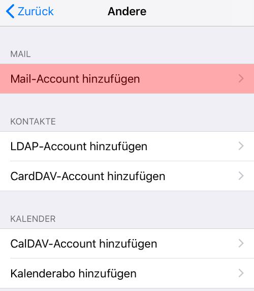 iOS Mail - E-Mail-Konto einrichten, Bild 5