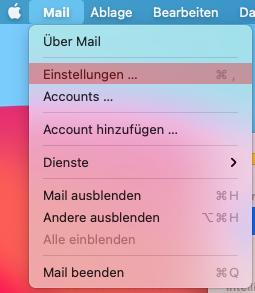 macOS Mail - SMTP-Authentifizierung aktivieren, Bild 1