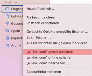 macOS Mail - Ordner abonnieren, Bild 1