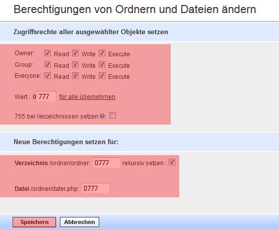 WebFTP - Dateiberechtigung ändern (CHMOD), Bild 2