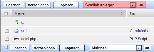 WebFTP - Anlegen von Symlinks, Bild 1
