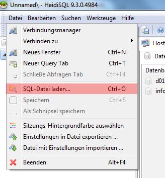 HeidiSQL - Version 9 - Datenbank einspielen / importieren, Bild 1