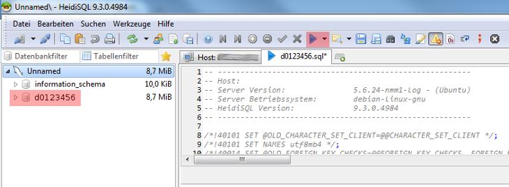 HeidiSQL - Version 9 - Datenbank einspielen / importieren, Bild 3