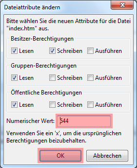 FileZilla - Version 3 - CHMOD ändern, Bild 2