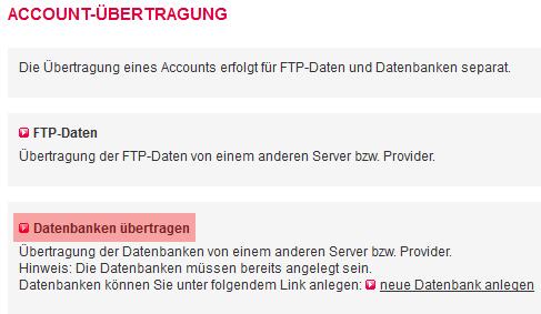 Accountübertragung - Übertragung Datenbank, Bild 4