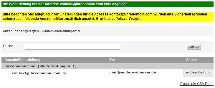 Mail-Adresse, Autoresponder, Weiterleitung - E-Mail-Weiterleitung einrichten, Bild 5