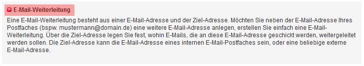 Mail-Adresse, Autoresponder, Weiterleitung - E-Mail-Weiterleitung einrichten, Bild 2