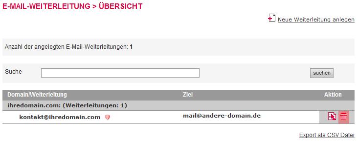 Mail-Adresse, Autoresponder, Weiterleitung - E-Mail-Weiterleitung löschen, Bild 3