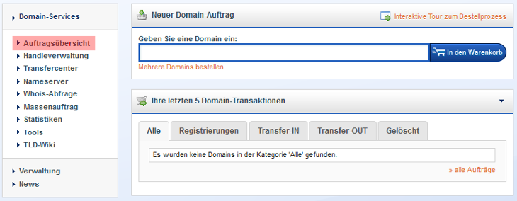 Domainverwaltung - Domain Authcode abfragen, Bild 1