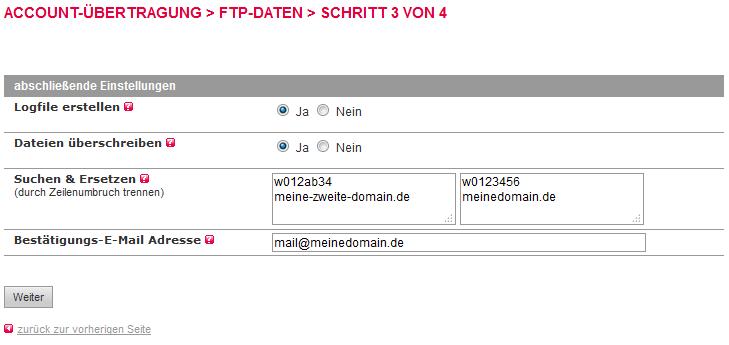 Accountübertragung - FTP-Übertragung, Bild 6