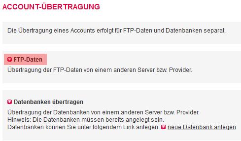 Accountübertragung - FTP-Übertragung, Bild 3