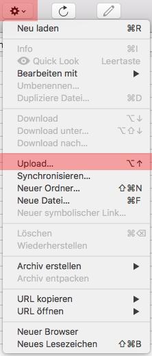 Cyberduck (MAC) - Verbinden und Dateien hochladen, Bild 4