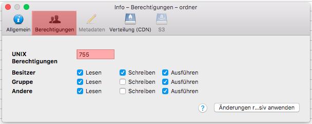 Cyberduck (MAC) - Dateiberechtigung ändern (CHMOD), Bild 2