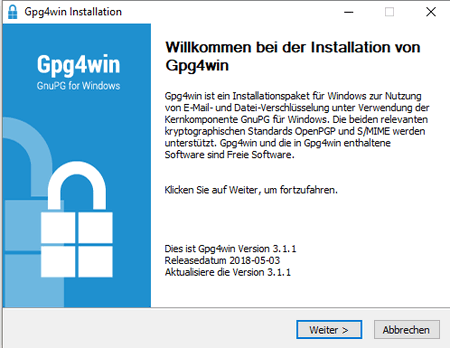 PGP-Verschlüsselung - Installation unter Windows, Bild 1