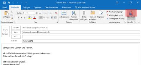 PGP-Verschlüsselung - Outlook 2016, Bild 2