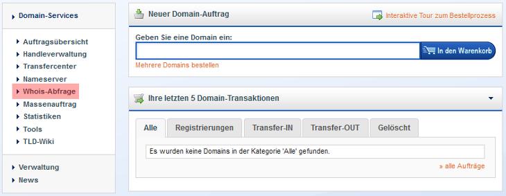 Whois Abfrage - Domainname ist frei, Bild 1