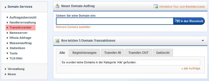 KK-Center - Anforderung AuthCode für .de bei Denic, Bild 1