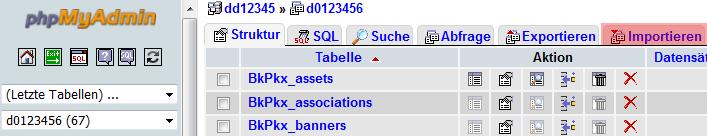phpMyAdmin - Version 3.4 - Datenbanksicherung einspielen, Bild 2