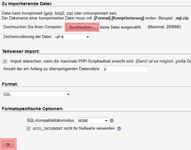 phpMyAdmin - Version 3.4 - Datenbanksicherung einspielen, Bild 3