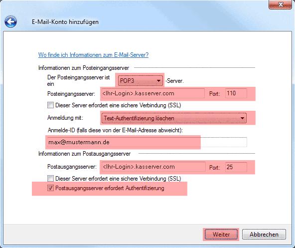 Mail in Windows 7 - E-Mail-Konto einrichten, Bild 3