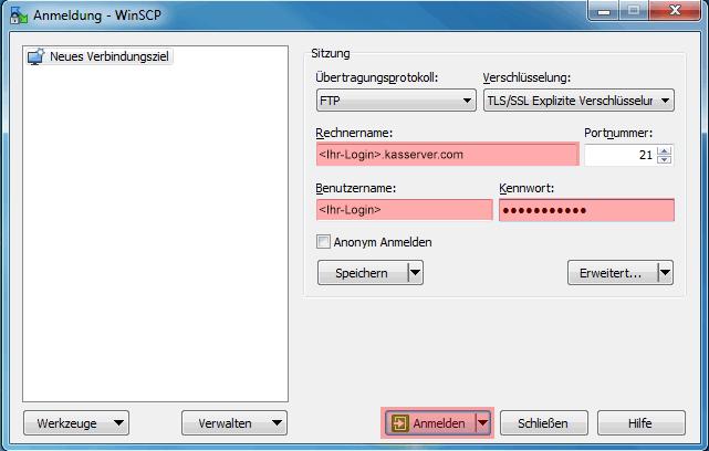 WinSCP 5.7.7 - Verbinden und Dateien hochladen, Bild 2