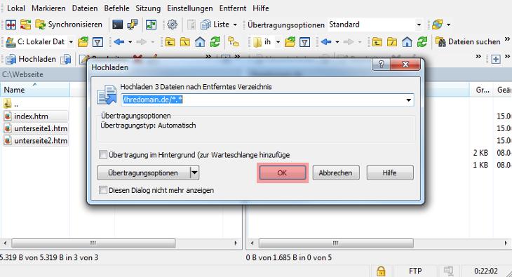 WinSCP 5.7.7 - Verbinden und Dateien hochladen, Bild 5