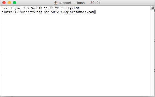 Dateiverwaltung - Verbindung mit Terminal auf MAC aufbauen (Passwort-Verfahren), Bild 3