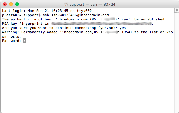 Dateiverwaltung - Verbindung mit Terminal auf MAC aufbauen (Passwort-Verfahren), Bild 5